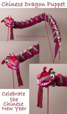 WOW! DIY Chinese Dragon Puppet on CraftsnCoffee.com