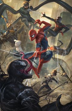 Spiderman and company Marvel Comic Universe, Marvel Comics Art, Marvel Memes, Spiderman Spider, Amazing Spiderman, Spectacular Spider Man, Marvel Wallpaper, Marvel Characters, Comic Art