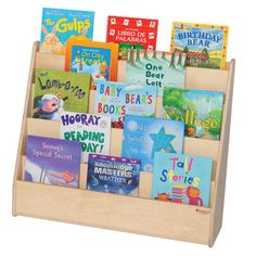 Your kids won't have to hunt for their favorite book with the Wood Designs Book Display Stand - Natural . The stand features five platform-style shelves. Book Display Stand, Display Shelves, Storage Shelves, Book Shelves, School Furniture, Kids Furniture, Classroom Furniture, Library Furniture, Furniture Decor