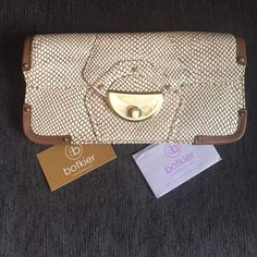 Chic Botkier Clutch  Brown and cream skin textured leather clutch with gold hardware. Never used. Authenticity included. 10.5w x 5.5h. Offers welcomed Botkier Bags Clutches & Wristlets