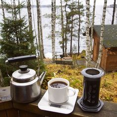 Morning from Finland!  by @laurantaina |  TAG your coffee friend! |  Shop NOW: http://ift.tt/1uHcmzT Link in Bio  @originalaeropress  Sclaes @alternativebrewing  Kettles @alternativebrewing by originalaeropress