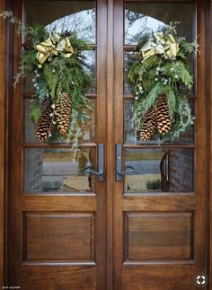 Holiday decor for the front door. - Holiday decor for the front door. Holiday decor for the front door. Front Door Christmas Decorations, Christmas Front Doors, Christmas Porch, Noel Christmas, Front Door Decor, Rustic Christmas, Xmas, French Christmas Decor, Outdoor Christmas Decor Porches