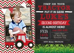 Red Tractor Chevron Chalk Birthday Printable Invitation by MakinMemoriesOnPaper on Etsy https://www.etsy.com/listing/218062340/red-tractor-chevron-chalk-birthday