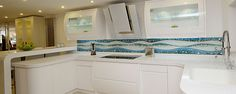 This kitchen design gets all the big WOWs! Glass art splash backs designed and created by Linear Art - this is where i work! Linear Art, Showroom, Glass Art, Kitchen Design, Kitchen Cabinets, Bathtub, Interiors, Big, Home Decor