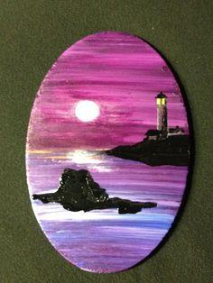 Mini Lighthouse Oval Acrylic Painting