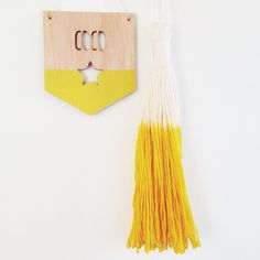 """""""One last yellow tassel friend on the site. Thanks for the beautiful name banner. Crochet Motif, Knit Crochet, Baby Name Reveal, New Baby Names, Kewpie, Name Banners, Tapestry Weaving, Tassel Necklace, New Baby Products"""