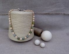 Beautiful Necklace made from Green Jade and Wooden by soandsew, $40.00