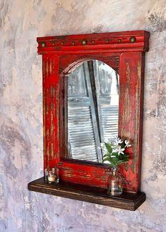 Esteban Mirror shelf - Sofia's Rustic Furniture Furniture Redo, Recycled Furniture, Shabby Chic Furniture, Rustic Furniture, Antique Furniture, Modern Furniture, Furniture Ideas, Outdoor Furniture, Furniture Market