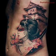 Large Geisha Tattoos On Rib