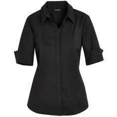 White House Black Market The Iconic Black Shirt ($74) ❤ liked on Polyvore featuring tops, elbow sleeve shirts, cotton button up shirt, white house black market, elbow sleeve tops and button down shirts