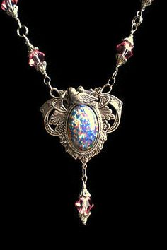 Dragon's Breath Opal Necklace Blue Opal by PatriciaBoweDesigns