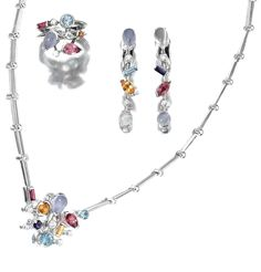 GEM-SET AND DIAMOND PARURE, 'MÉLI-MÉLO', CARTIER  Comprising: a necklace, a pair of pendent earrings and a ring, set with variously cut moonstones, chalcedony, aquamarines, orange garnet, tourmalines, cordierite, mounted in white gold and platinum, necklace length approximately 380mm, ring size 52, all signed Cartier and numbered, French assay and maker's marks.