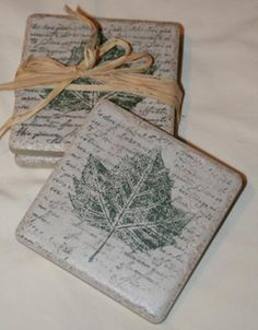 Craft Project: Stamped Tile Coasters.  Love this. Easy and what a great gift.