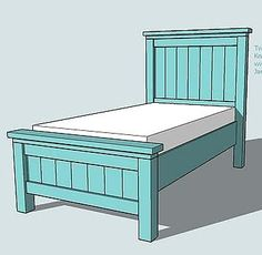 Future beds for the boys (spring '12 project?!) - medium stain, possibly alter plan to have flat panel or horizontal slats instead of vertical.