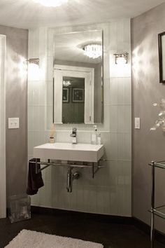 White 4x12 glass tile wall in contemporary grey bathroom - Found at https://www.subwaytileoutlet.com/