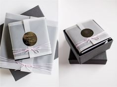NMB luxury boudoir album packaging- vellum cover, hand embossed monogramed label, pink bakers twine.