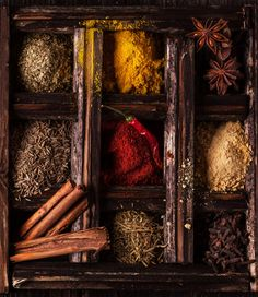 Spices - Mix of spices in old wooden box