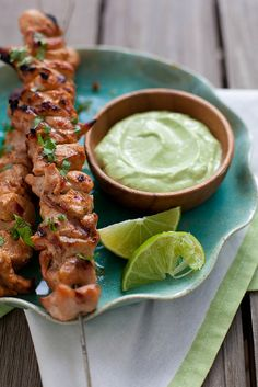 Chipotle Chicken Kabobs with Avocado Cream Sauce.  OMIT brown sugar.  Dinner does not need to be sweet!
