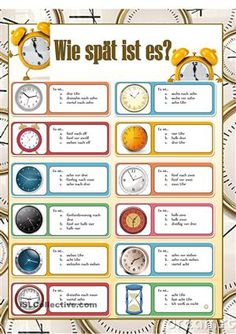 What time is it? Foreign Language Teaching, German Language Learning, German Grammar, German Words, Learn German, Learn English, Study German, German Resources, Deutsch Language
