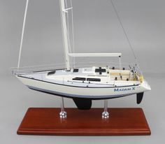 This 18-inch desktop replica of a X-Yacht 372 is a great example of our attention to detail and workmanship.  Let us build a replica model of YOUR boat. Full models and Half Hull Models, Power or Sail. More affordable than you think! Contact us for a quote. www.sdmodelmakers.com