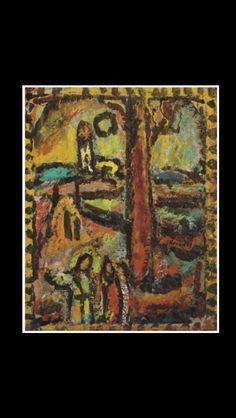 """Georges Rouault - """"Paysage biblique (au tronc d'arbre) """", c. 1953 - Oil on canvas - 43,2 x 34 cm"""