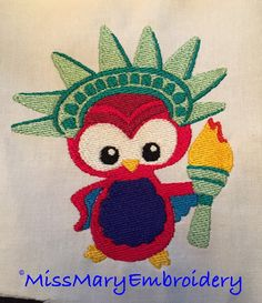 Statue Of Liberty Patriotic Owl Instant Download Digital Embroidery File Design 4X4