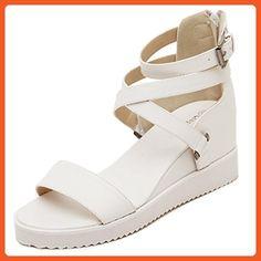 Doris Women's Leather Criss Cross Strap Word Buckle Sandals Roman Style  Open Toe Wedge Flat Sandals
