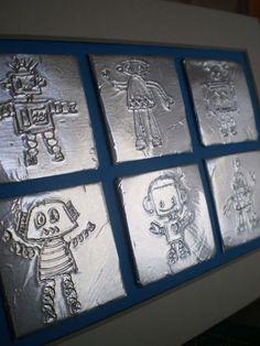 Robot op (dik) aluminiumfolie