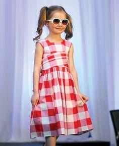Kate modelling the Gingham Dolce Dress for Redfish Kids