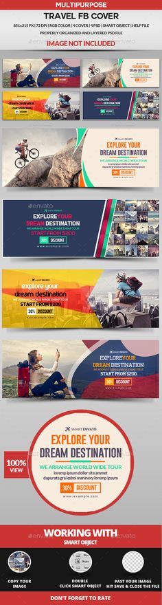 Travel Facebook Cover - 4 Design Templates PSD. Download here…