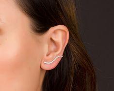 Sterling Silver Ear Climber earrings, Ear Crawler, Cuff Earrings, Ear Pins, Ear Wrap Earrings , Zircon Earrings | 0072EM