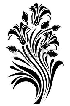 Silhouette noire de fleurs d'ornement. Vector illustration. photo