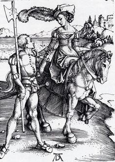 Albrecht Durer (1471-1528) Lady On Horseback and Lansquenet Engraving 1497