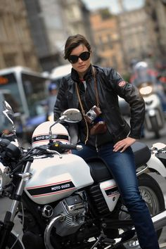 Motorcycle Girl. Moto Guzzi V7 Classic.