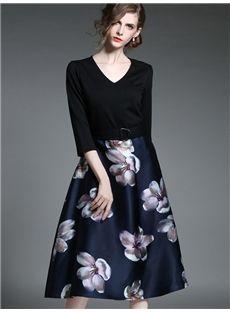 欧美セレブ愛用新品 ファッション大物花プリント膝丈デートワンピース