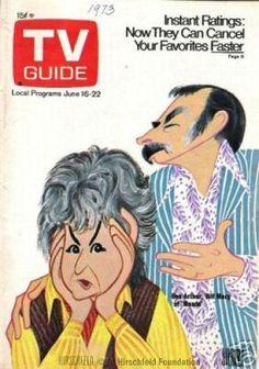 TV Guide: Al Hirschfeld caricature of 'Maude' stars Bea Arthur and Bill Macy