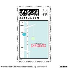 Winter Birch Christmas Tree Ornaments Custom Postage Stamps