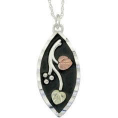 Black Hills Gold Jewelry by Coleman Co. Antiqued 10kt and 12kt Black Hills Gold and Sterling Silver Pendant, 18