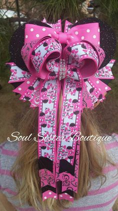 Tails down Minnie Mouse with ears hair bow only at www.facebook.com/soulsisterboutique