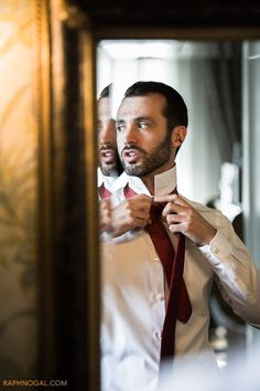 Groom In Front Of The Mirror  | Old Mill Wedding | Raph Nogal Photography | Toronto Wedding Photographer