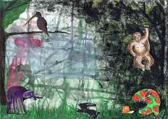 """Dibujo a partir del azar y de la mancha. """"Colección de bichejos"""" Viriane Clemente. 1º Bachillerato Artístico. IES. Usandizaga 2014"""