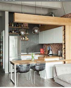39 Dining Room Design Tips For Small Kitchen - Mia's Brilliant Ideas Apartment Kitchen, Home Decor Kitchen, Kitchen Living, New Kitchen, Home Kitchens, Kitchen Ideas, Kitchen Inspiration, Loft Kitchen, Kitchen Sinks