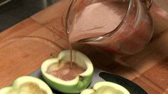 Transfer to a container with a spout. Make sure the apple cups are level before you beging to pour.