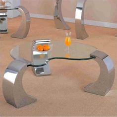 Fresh Coaster Custer Chrome Coffee Table with Metal Base and Kidney Glass Top