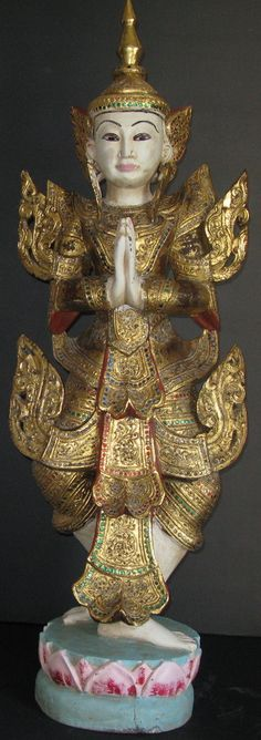 Early Century Teak Wood Burmese Nat (spirit) with glass mosaic and thayo lacquer decoration Straw Art, Buddha Figures, Vietnam, Tibetan Art, Buddhist Art, Mandalay, Burmese, Teak Wood, Mosaic Glass