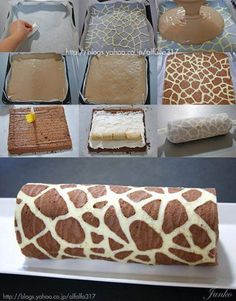 DIY: Giraffe pattern cake roll. So easy to make! Would you make it?