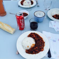 #squid #rice #cola #bread #Spanish #dinner #France #marseille #summer #house #happy #night #holidays