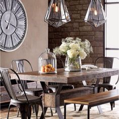 Love this dining room look.... For my next house... Soon.. Love the industrial look.. @casasugar