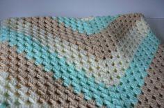 Crocheted  Baby Blanket/Mint Green/Beige/Ivory  by fashionablekids, $55.00