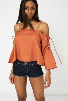 Burnt orange lace up Bardot top